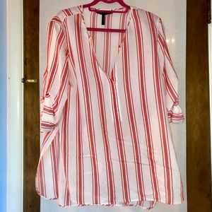 striped beach frock coral + white